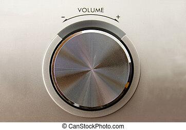 Volume knob - Close up of a metallic volume knob