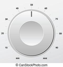 Volume knob - Grey volume knob. Vector illustration.
