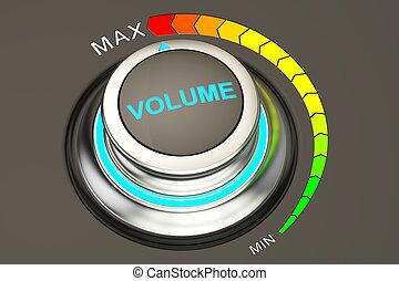 volume knob, max level of volume. 3D rendering