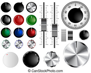Volume knobs - Plastic and chrome knobs, dials and sliders