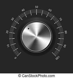 volume, knoop, (music, knob), met, metaal, textuur, (chrome)