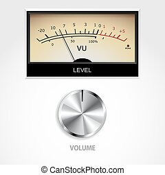 volume, knop, en, meter