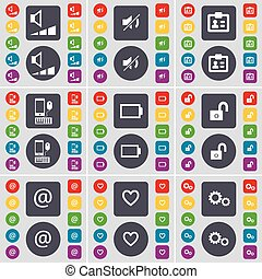 Volume, Mute, Contact, Smartphone, Battery, Lock, Mail, Heart, Gear icon symbol. A large set of flat, colored buttons for your design. Vector