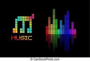volume, muziek, kleurrijke