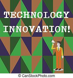 volume, produit, significatif, business, haut, technique, photo, projection, procédés, écriture, regarder, conversation, innovation., changements, main, texte, conceptuel, homme affaires, icon., porte voix, technologie