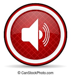 volume red glossy icon on white background