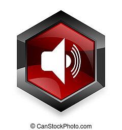 volume red hexagon 3d modern design icon on white background