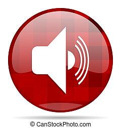 volume red round circle glossy modern design web icon