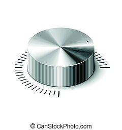 volume, regelaar, 3d, metalen