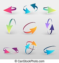 Volume set of cursors, vector graphics.