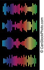 Volume spectrum collection. Multicolored audio range effect. Rainbow music signal diagram. Vivid colors equalizer charts. Sound waves abstract graph. Trendy frequency beats graphic icon set.