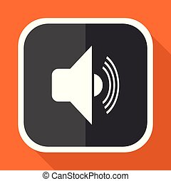 Volume vector icon. Flat design square internet gray button on orange background.