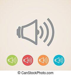 volume, vetorial, orador, ícones