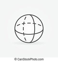 volumen, esfera, vector, contorno, icono