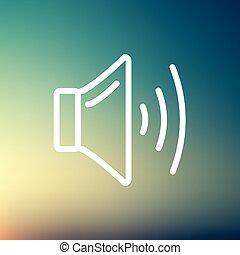 volumen, línea, orador, delgado, icono