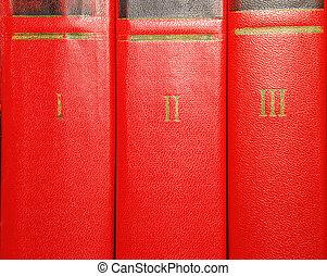 volumes, van, oude boeken, met, goud lettering, op, de, dekking