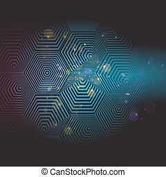 Volumetric 3D pyramid. hexagon. Optical illusion black and blue background. Vector