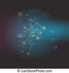 Volumetric 3D pyramid. hexagon. Optical illusion black and blue background. Vector