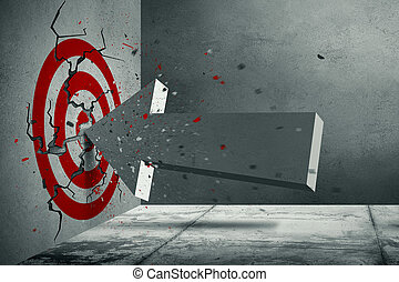 Volumetric arrow crush into the red target on the concrete wall