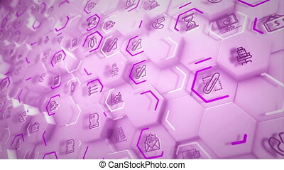 """""""Cheerful 3d rendering of business hexagons with computer symbols of screens, sandglasses, linked with each other and having pink lines in the white backdrop in seamless loop."""""""