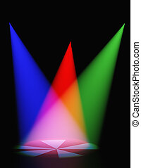 Volumetric light. Rays of light from projectors on a surface