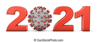 Volumetric figures 2021 and coronavirus covid-19 on a white background. 3d render.