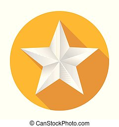 Volumetric five-pointed star. Icon of classic white star on yellow round background, 3D illustration
