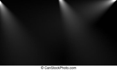Volumetric lights in the dark, computer generated. 3d render of background with spot lighting