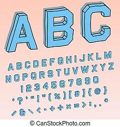 volumetric, numeriek, alfabetisch, perspectief, karakters, lettertype, 3d