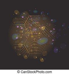 volumetric, ouro, pyramid., experiência., hexagon., vetorial, pretas, ilusão óptica, 3d