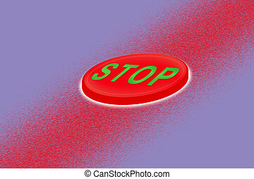 Volumetric red button with the word stop on a gradient background