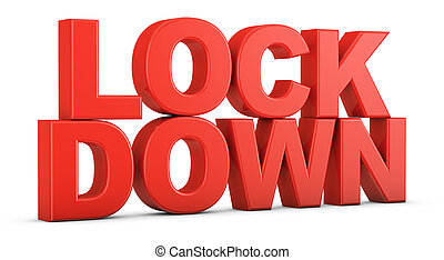Volumetric red text LOCKDOWN on a white background. 3d render