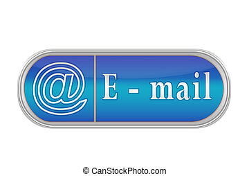 Voluminous blue button with the pictogram and the words E-mail, white background