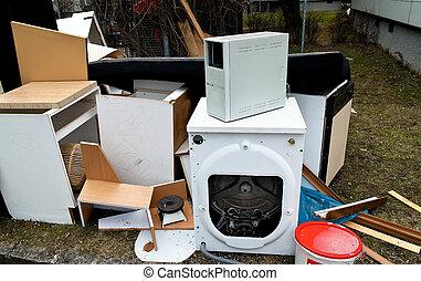 volumoso, desperdício, esperando, para, coleção lixo