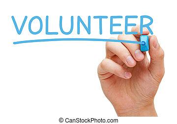 voluntário, azul, marcador