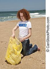 voluntário, colecionar, lixo, ligado, praia