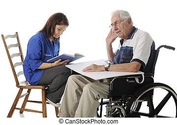 voluntário, com, a, idoso
