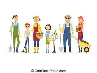 voluntário, pessoas, trabalho, -, isolado, ilustração, caricatura, caráteres, sábado