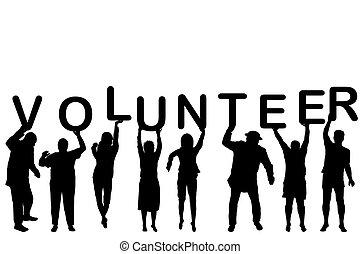 voluntário, silhuetas, conceito, pessoas