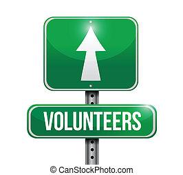 voluntários, desenho, rua, ilustração, sinal