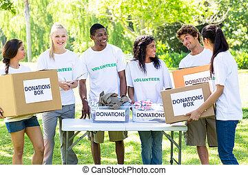 voluntários, grupo, parque