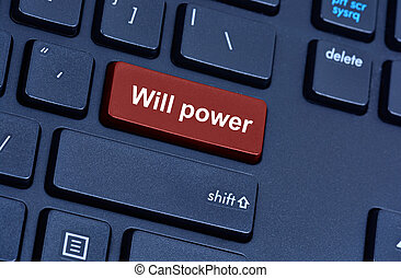 voluntad, computadora, palabras, potencia, teclado