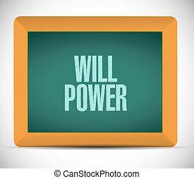 voluntad, concepto, pizarra, potencia, señal