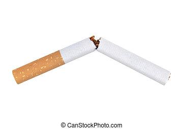 voluntad, fumar, parada, roto, blanco, cigarrillo, potencia
