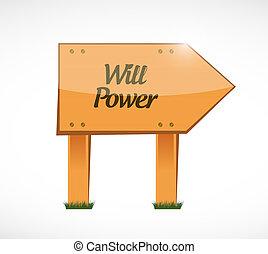 voluntad, madera, concepto, potencia, señal