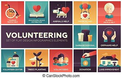 voluntariado, -, conjunto, de, plano, diseño, infographics, elementos
