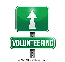 voluntariado, diseño, camino, ilustración, señal