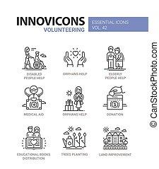 voluntariado, iconos, set., moderno, -, vector, diseño, ...