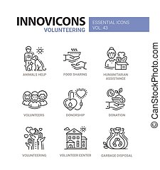 voluntariado, iconos, set., moderno, -, vector, línea