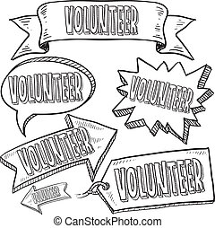 voluntario, banderas, y, etiquetas, bosquejo